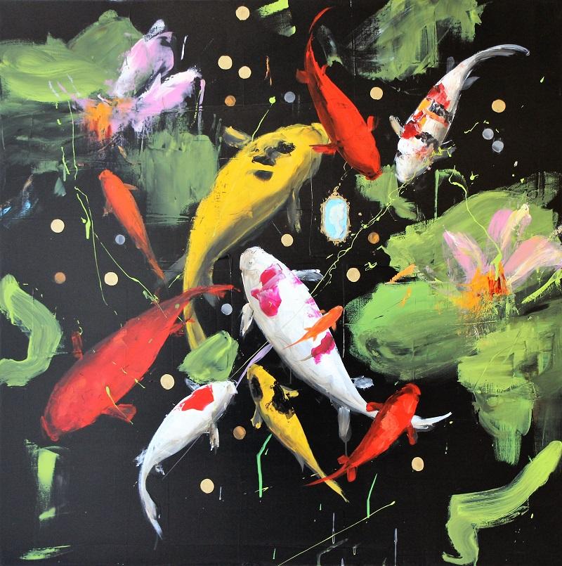 """""""BW 7 piscina"""" dipinto su tela cm. 100x100"""