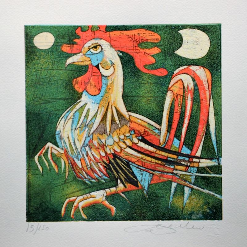 """""""Gallo"""" serigrafia materica cm. 33x33"""
