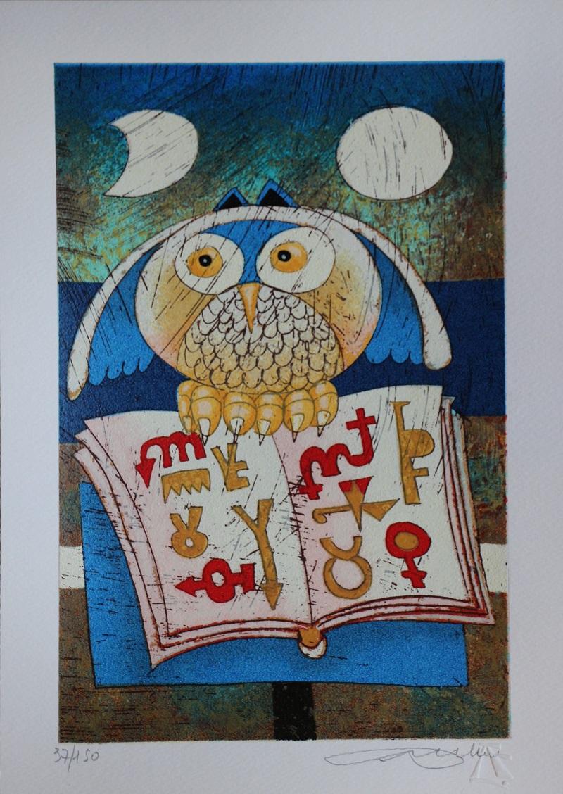 """""""Gufo magico"""" serigrafia materica cm. 25x35"""