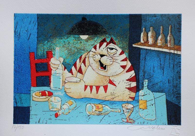 """""""Il gatto in osteria"""" serigrafia materica cm. 25x35"""
