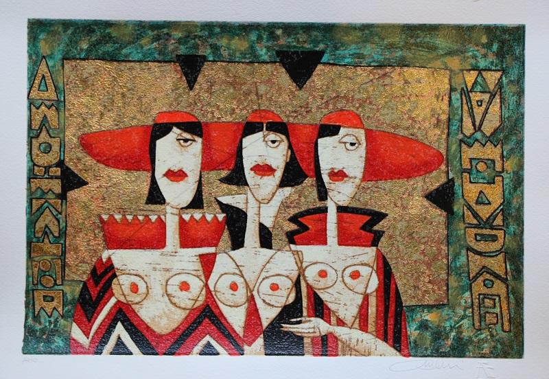 """""""Tre dame"""" serigrafia materica cm. 35x50"""