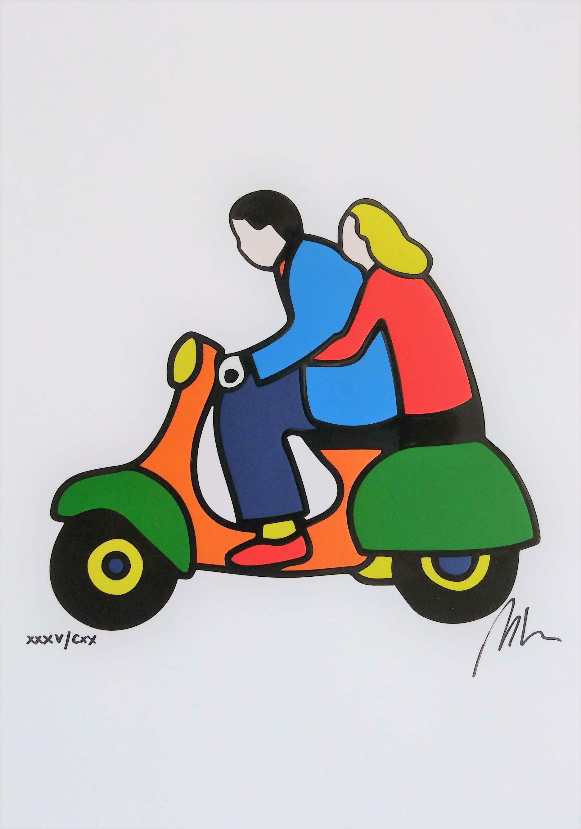"""""""Abbraccio in vespa"""" serigrafia materica cm. 21x29,5"""