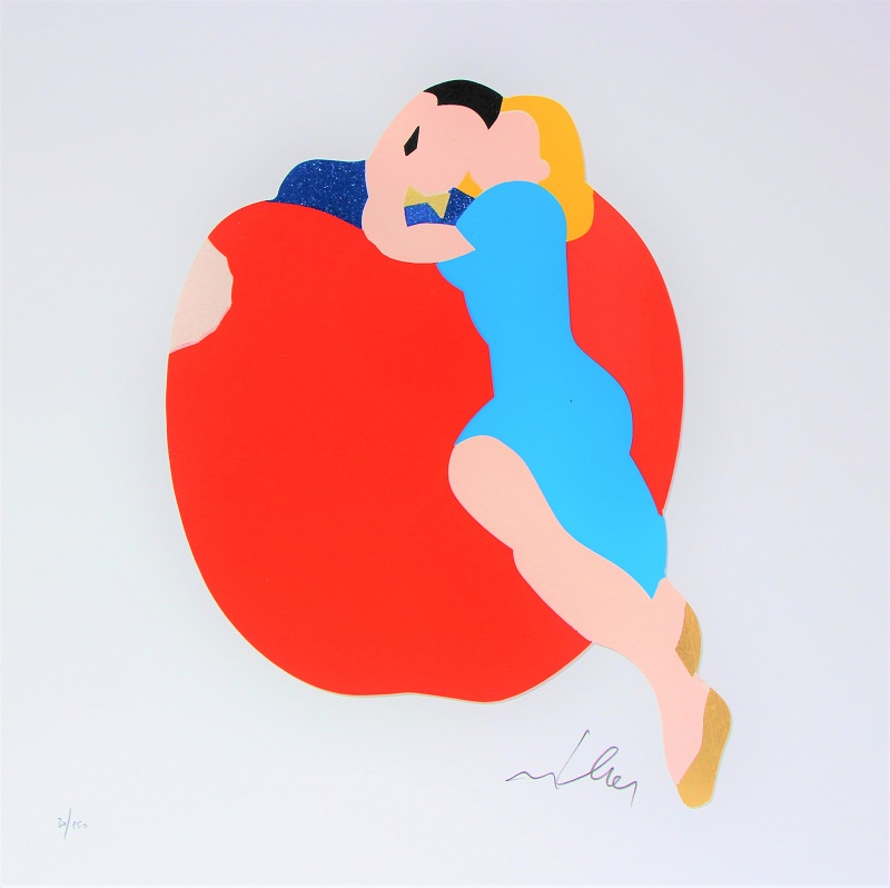 """""""Apple"""" serigrafia materica con interventi in collage, glitter e foglia oro cm. 40x40"""