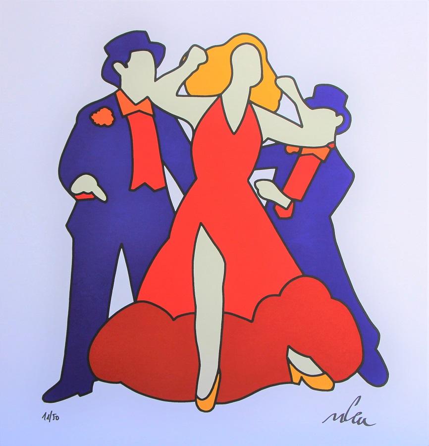 """Ballerini"" serigrafia materica cm. 81x81"