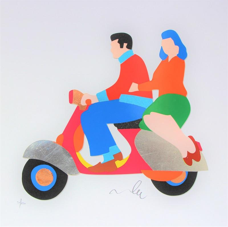 """""""Love in Vespa"""" serigrafia materica con interventi in collage, glitter e foglia oro cm. 40x40"""