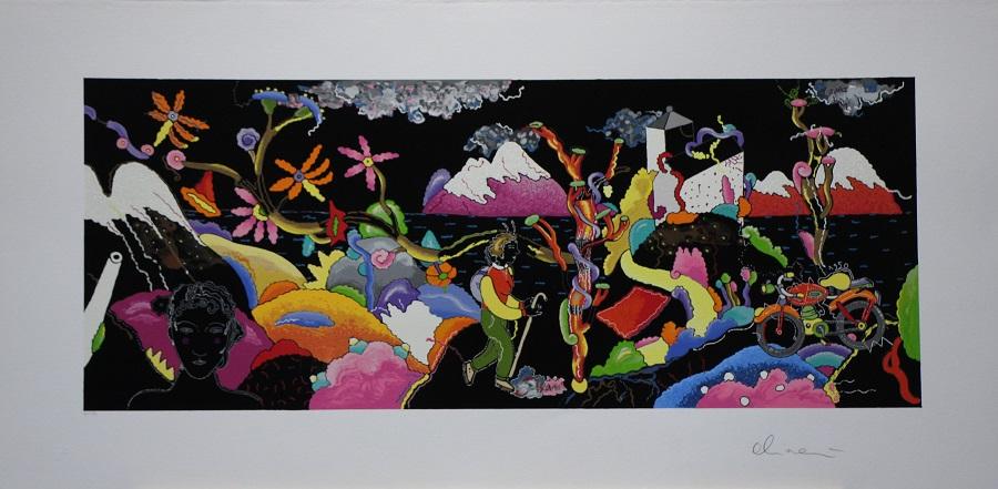 """""""Viaggio sulla scogliera"""" serigrafia polimaterica con interventi in sabbie e resine cm 60x120"""