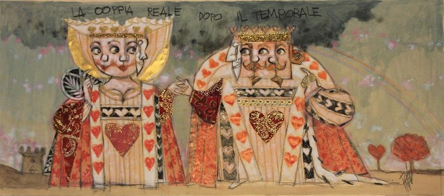 """""""La coppia Reale dopo il temporale"""" olio e collage  cm. 35x80"""