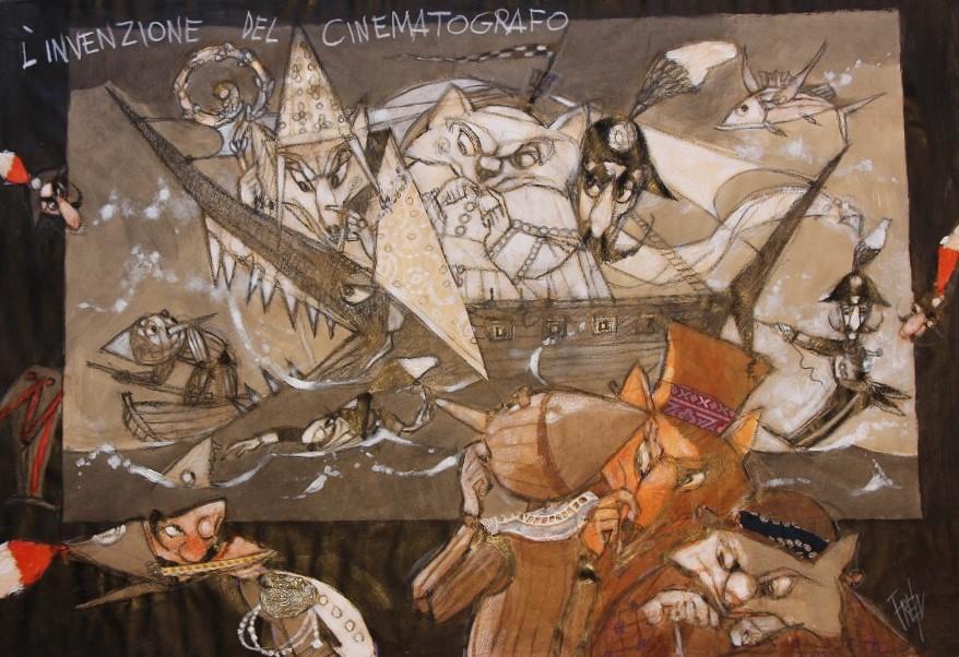 """""""L'invezione del cinematografo"""" olio e collage su tavola cm. 51x74"""