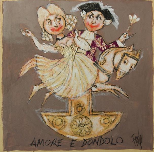 """""""Amore a dondolo"""" olio su tavola cm. 26x25,5"""