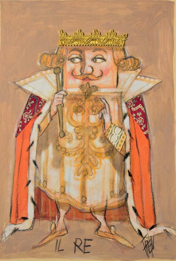 """""""Il Re"""" dipinto e collage su tavola cm. 30x40"""