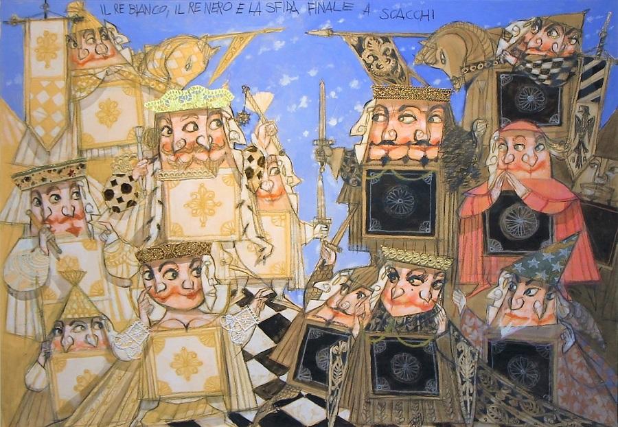 Paolo Fresu li il Re bianco il Re nero e la sfida finale a scacchi olio e collage su tavola cm. 70x100