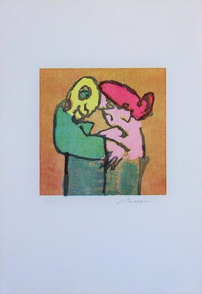 """""""La coppia"""" litografia cm. 50x35"""
