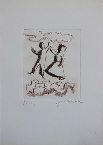 """""""Figure sopra la città"""" incisione cm. 35x25"""