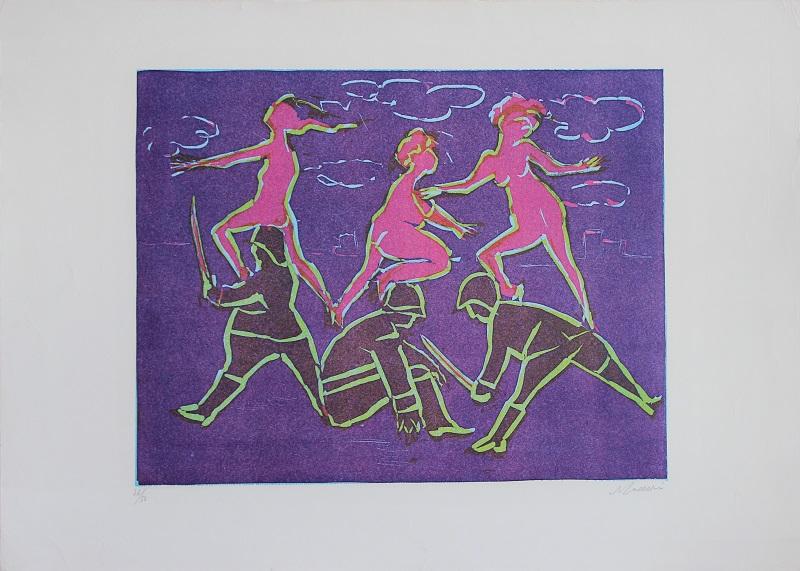 """""""Tre donne e tre soldati"""" litografia cm. 50x70"""