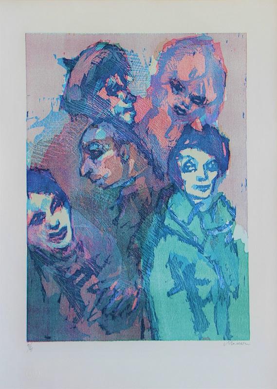 """""""Cinque personaggi"""" litografia cm. 70x50"""