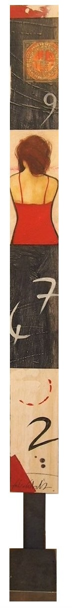 """""""Numeri"""" dipinto su tavola e metallo cm. 160x15"""