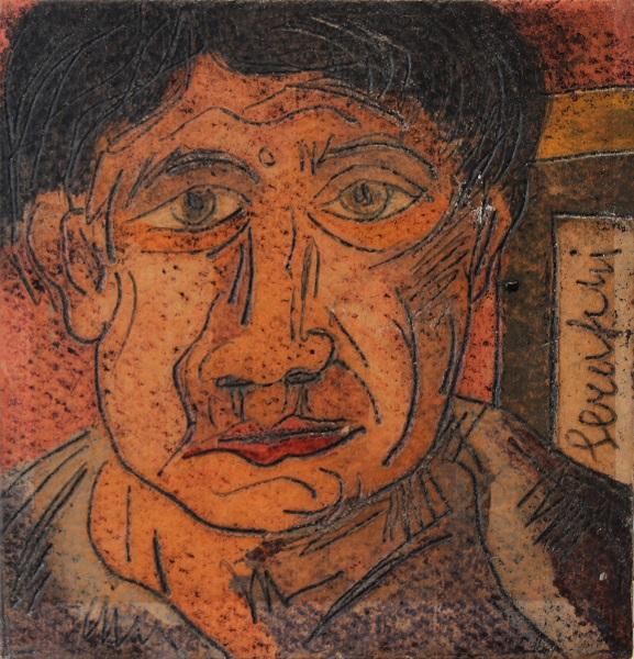 """""""Autoritratto"""" dipinto su cartone inciso cm. 10x10"""