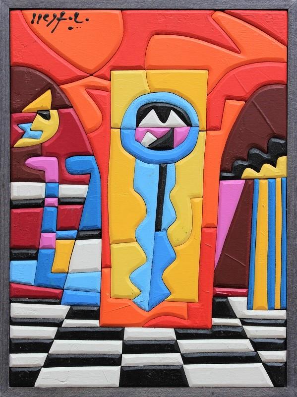 """The key ""acrilico su tavola intarsiata cm. 18x24"