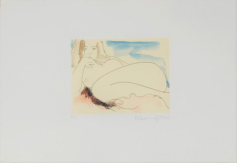 """""""Afrodite"""" incisione acquerellata a mano cm. 35x50"""